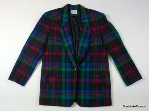 Vintage Women's Miss Pendleton Blazer Jacket Plaid Purple Pink Green Size 14