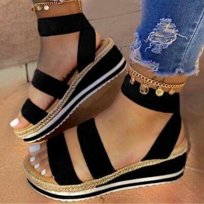 Womens Colorful Sandals Slip On Wedge Platform Heel Peep Toe Ankle Strap Shoes