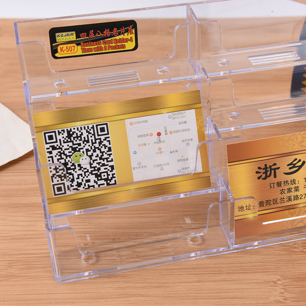 8 Pocket Desktop Business Card Holder Clear Acrylic Countertop Stand ...