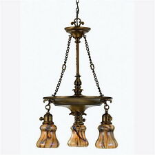 Legacy Brass And Amber Vine Art Glass 3 Light Chandelier
