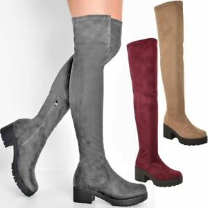 c589e3672f0e Womens Ladies Flat Low Heel Chunky Stretch Thigh Over The Knee Boots ...