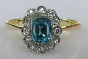 Vintage-18ct-gold-cushion-cut-blue-zircon-8-cut-diamond-cluster-ring-size-O-1-2