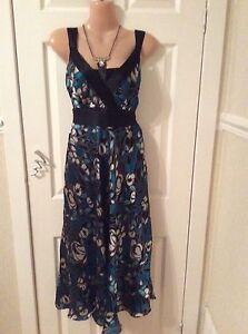 Monsoon-Silk-Viscose-Black-Party-Dress-Size-12-Good-Cond