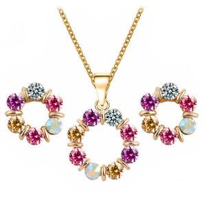 PRESKIN-Funkelndes-Schmuckset-Kette-Kristall-Anhaenger-Ohrstecker-pink-gold