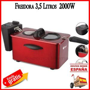 Fritteuse-Elektrisch-3-Liter-2000w-Rot-Bratpfanne-Kueche-Frittiert-Essen-Fryer