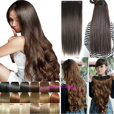 24/26/27'' Long Straight Wavy Half Head 5Clips Clip in Hair Extensions Not Human