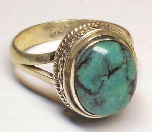 Sterling-Silber-ethno-asiatische-Vintage-Style-tuerkis-Stein-Ring-Groesse-Q-1-2-Geschenk