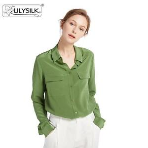 02f392475d1439 LILYSILK Basic Box Pleated 18 Momme Silk Shirts Blouses for Women ...