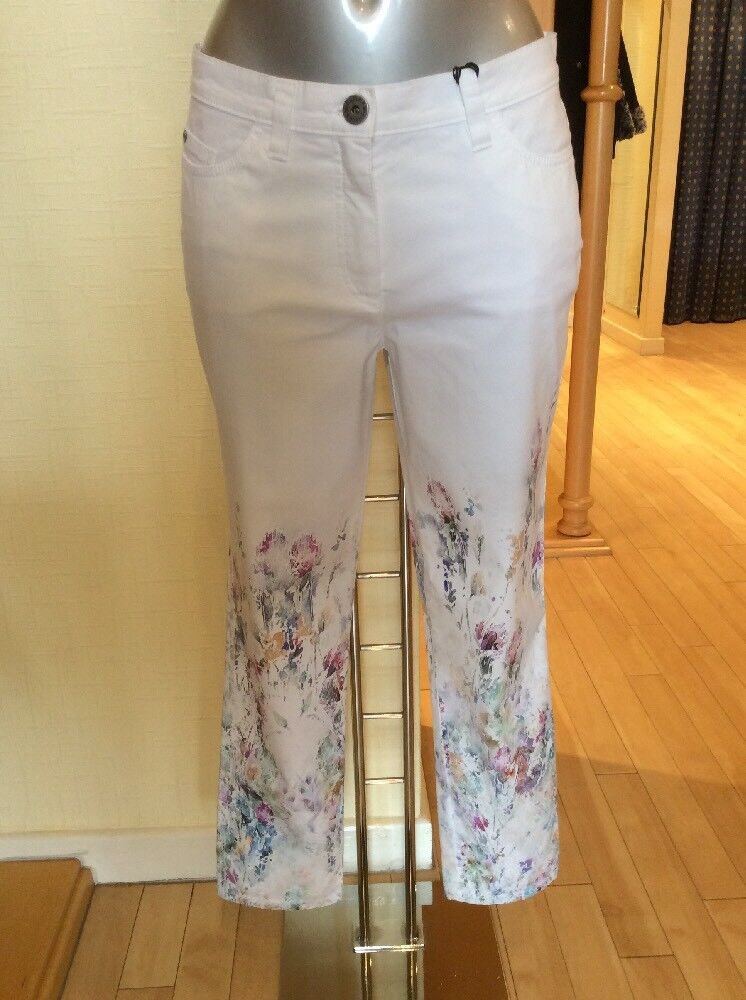 Michele Jeans Size 12 BNWT White & Floral 28  Inside Leg RRP  Now