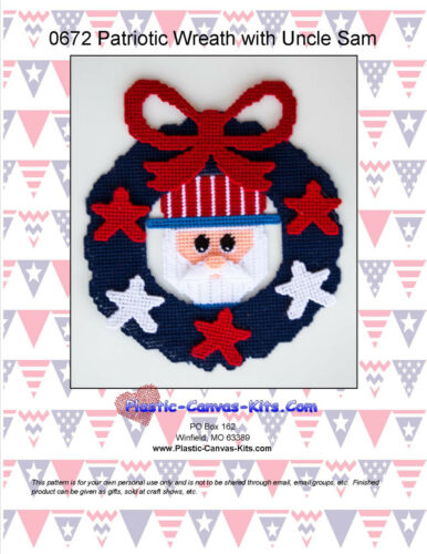Plastic Canvas Pattern or Kit Patriotic Uncle Sam Wreath with Stars