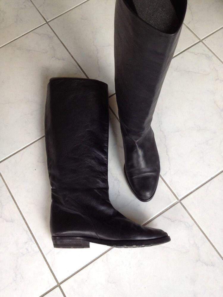 EFFETTO-Noir Bottes en cuir, made made made in , UK 6 EU 38-39 (07) 59d79b