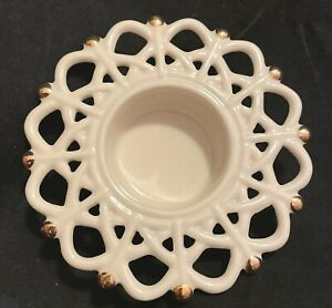 Lenox Ivory China Holder Snow Lights Snowflake Votive Tealight Candle Shimmer
