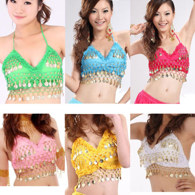 Sexy Women Belly Dance Bra Lotus Leaf Drops Coins Costume Dancer Top Dancewear