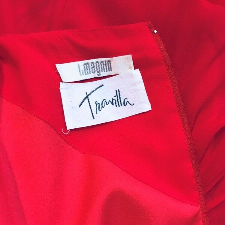 Vintage Travilla Red Silk Chiffon Dress Cocktail … - image 8