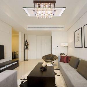 Moderna-Genuine-cristallo-Chrome-montaggio-a-filo-lampadario-luce-di-soffitto