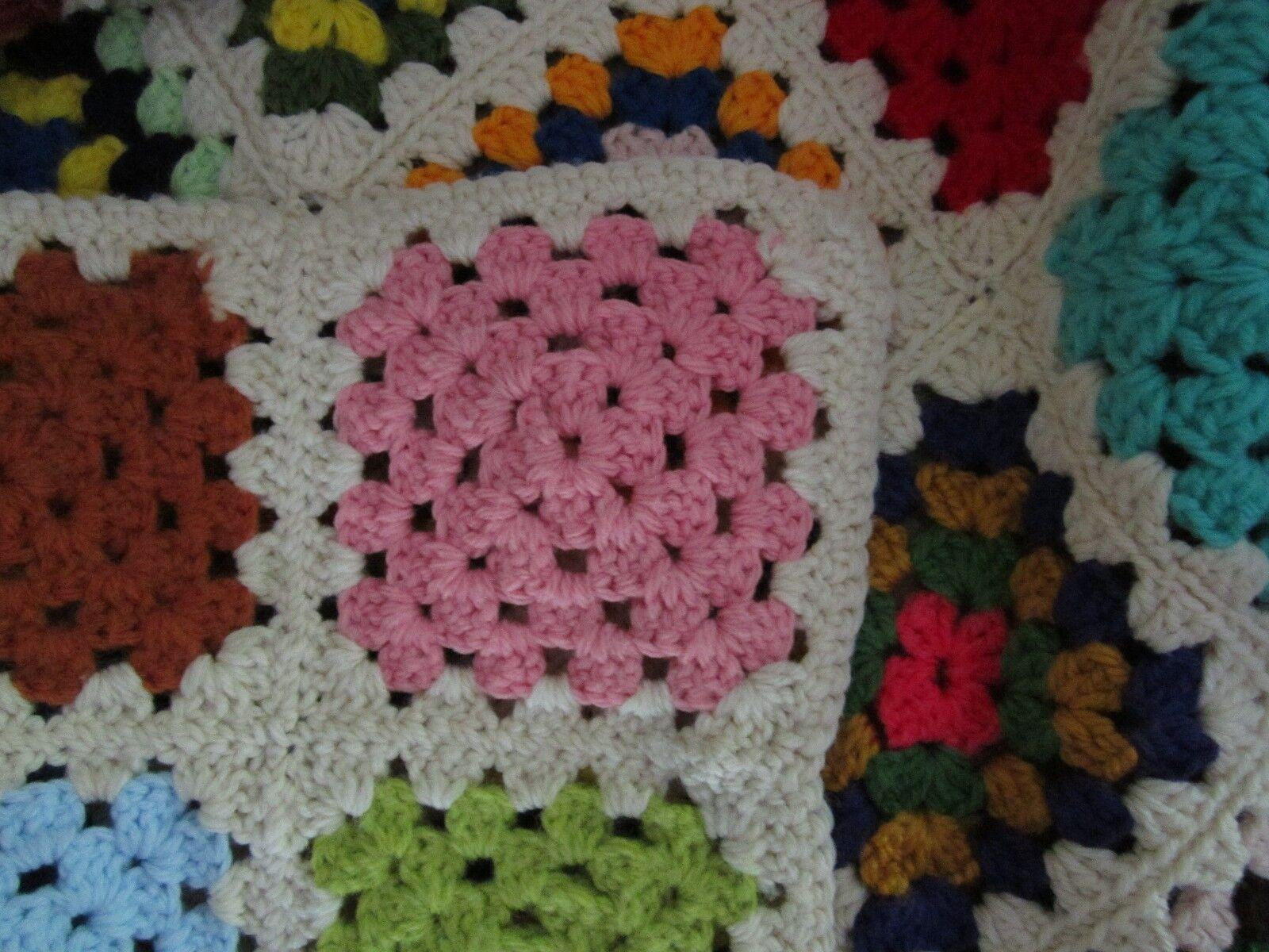 Crochet Crochet Crochet Vintage Afghan Grand-Mère Fait à la Main Couverture Mamie Carreaux | Terrific Value  | Boutique En Ligne  | Jolie Et Colorée  ade47d