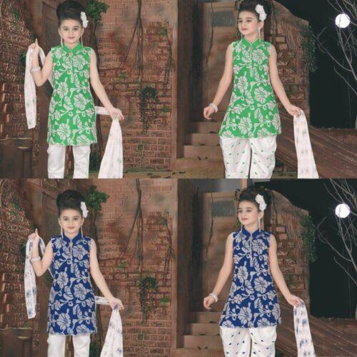 Green or Blue Girls 2 in 1 Salwar//Churidar Suit Party Wear Casual Wear