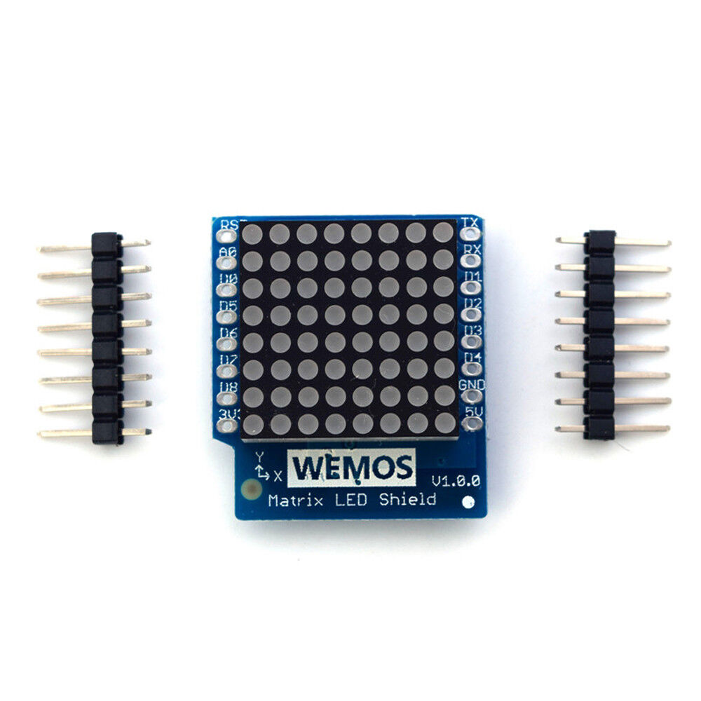 1PCS 8x8 Matrix LED V1.0.0 Shield 8 Step Adjustable Intensity For  D1 mini WEMOS