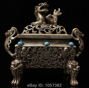 antique-the-Qing-dynasty-Pure-copper-Mosaic-gem-Lion-Incense-burner