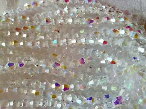 Joblot-of-10-strings-White-full-AB-6mm-bicone-shape-Crystal-beads-new-wholesale