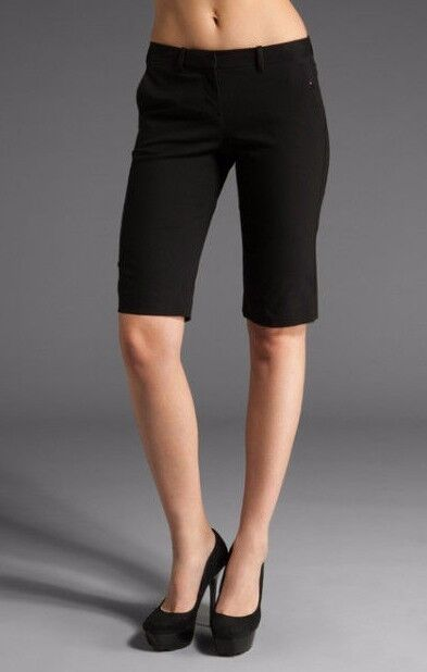 Nuova con Etichetta Teoria Donna Sz8 Palmer Stretch Tela Bermuda Pantaloni Neri