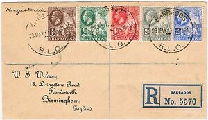 Registered Letter sent Barbados to England 1924. Attractive Franking.
