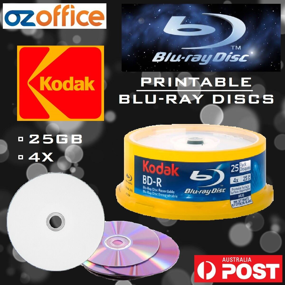 picture relating to Printable Blu Ray Discs known as Info over KODAK Blank Blu-Ray Discs 25GB BDR 4X White Inkjet Printable Disc