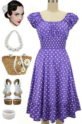 50s Style LAVENDER & White POLKA Dots PINUP Peasant Top On/OffThe Shoulder Dress