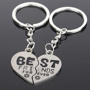2x-Broken-Heart-Silver-Pendant-Keyring-Keychain-Key-Chain-Friendship-Gift-Ni-ZF