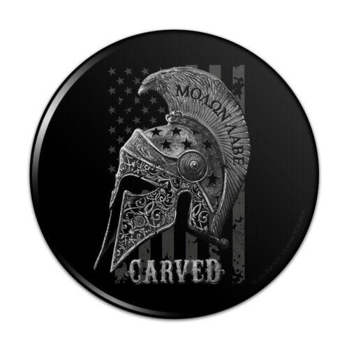 Carved Molon Labe USA American Flag Spartan Helmet Pinback Button Pin Badge