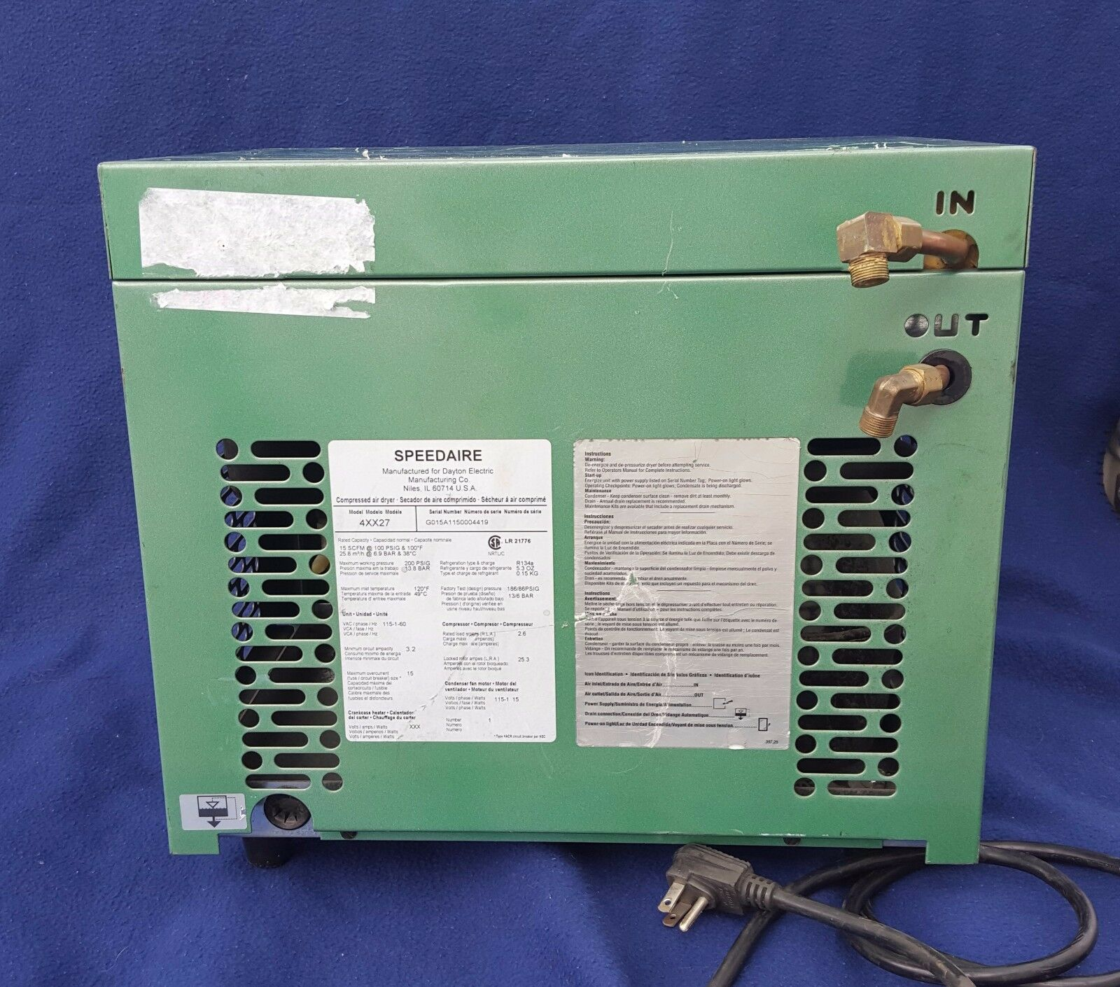 520B Side Port 15 CFM Compressed Air Extractor Dryer Great 4 Plasma Cutters