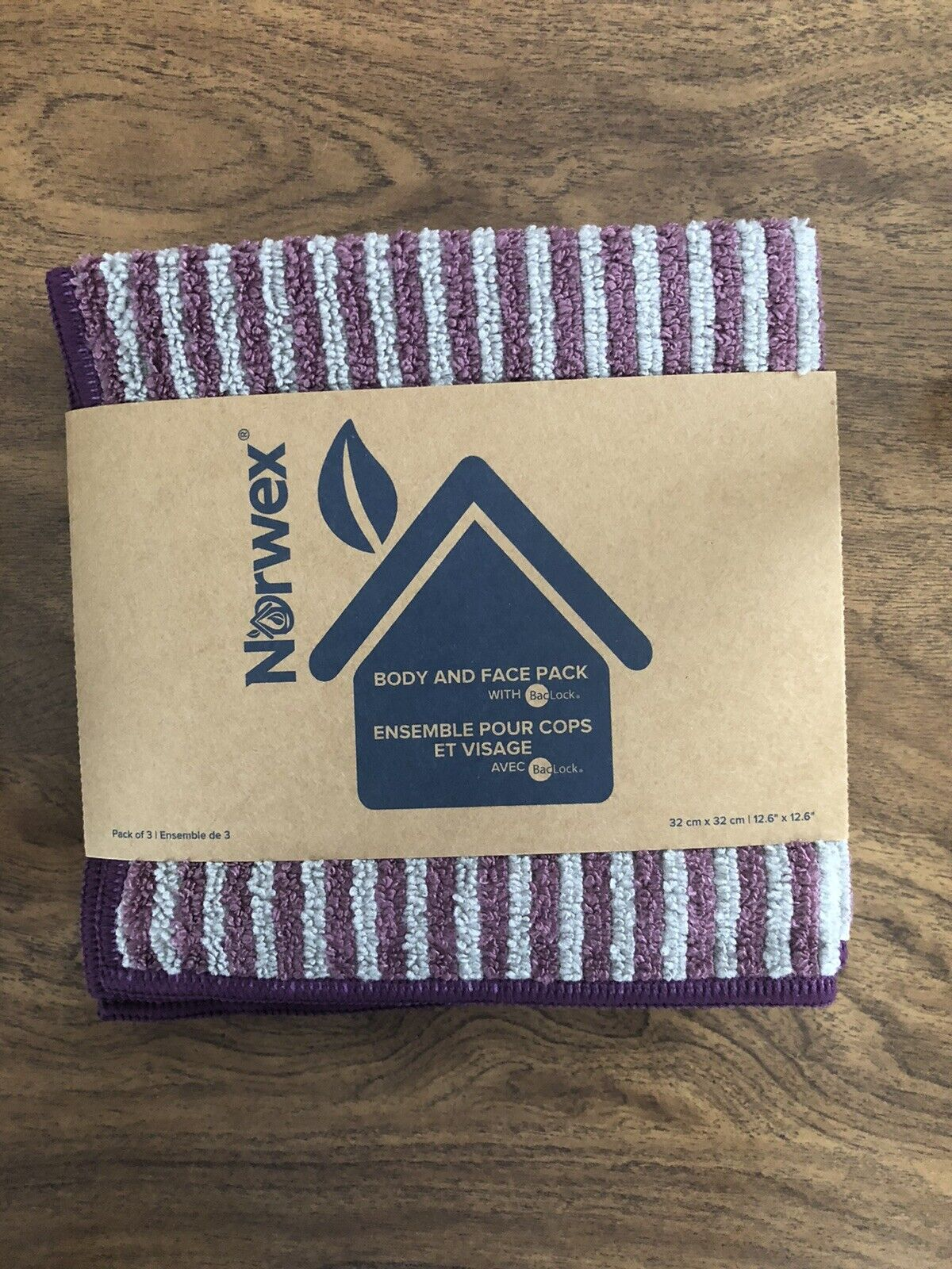 Norwex Body and Face Cloth 3-Pack BacLock Limited Edition Lavender/Graphite New