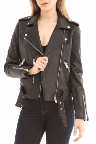 Belle Motorcycle Leather attached Fur Nwt Zipper Jacket W Cuffs Med Black Vere XXrOZ5qwfx