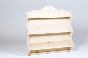 Cabinets & Cupboards Open-Minded Piattaia In Legno Al Grezzo In Legno Tiglio Con 3 Ripiani Decoupage Nuova
