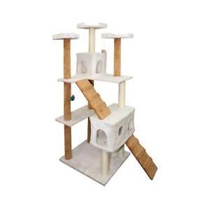 OxGord Cat Tree Condo Furniture Scratch Post Pet House Beige U0026 White 72 Inch