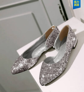 2cc2081386c Womens Bling Sequins Pointy Toe Uk 2.5-7 Sexy Boat Loafer Boat ...