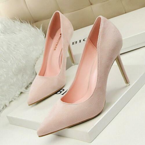 Classic Women Pumps Ladies Pointed Toe  Slip On Stilettos High Heels Party Shoes