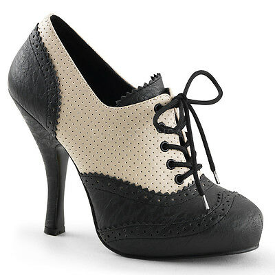 PIN UP By Pleaser - Cutiepie-14 Lace Up Spectator Oxford Shoes Distressed Effect