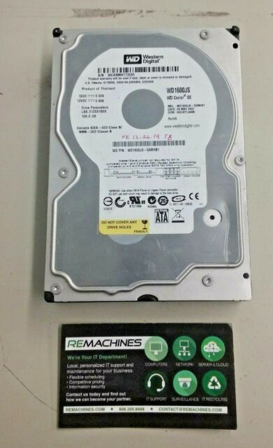 "Western Digital WD1600JS 160GB 8MB Cache 7200RPM SATA 3.0Gb//s 3.5/"" Hard Drive"