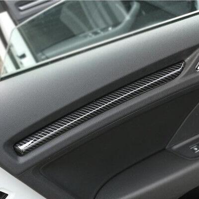 3PCS Real Carbon Fiber Dashboard Decorative Strip Trim For Audi Q5 FY 2018 2019