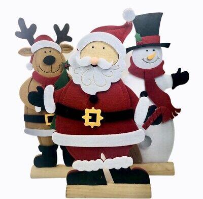 Snowman Santa Deer Felt Table Top Topper Kurt Adler 12 5 Holiday Decor Set Of 3 Ebay