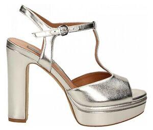 huge discount 217be 7825b Dettagli su LUCIANO BARACHINI CC231K scarpe sandali donna pelle tacco zeppa  plateau argento