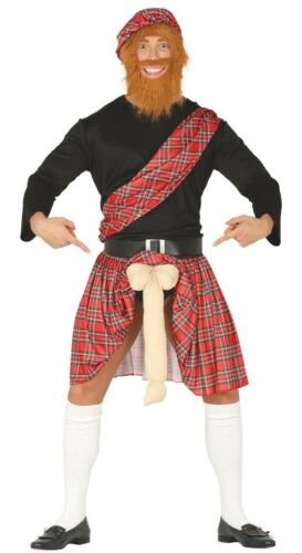 Adulto Scotsman ben appesi Highlander Uomo Costume Scozzese Addio al Celibato Do