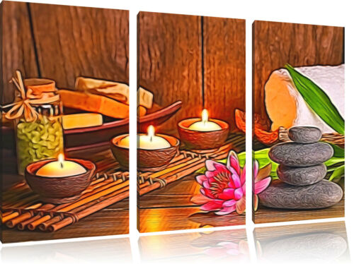 Wellness Spa 3-Teiler Leinwandbild Wanddeko Kunstdruck