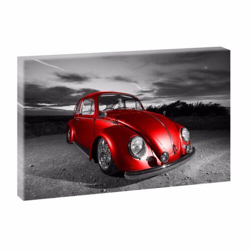 VW Käfer Bild auf Leinwand Keilrahmen Poster Wandbild XXL 120 cm*80 cm 722 pink