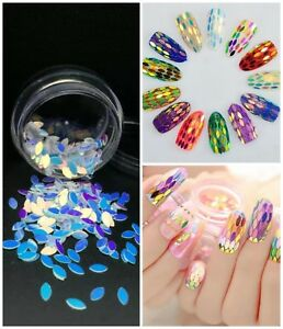 USA-HOLOGRAPHIC-BLUE-OVAL-SEQUINS-SPANGLES-GLITTER-Nail-Art-Acrylic-Gel-Crafts