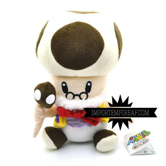 SUPER MARIO BROS. MASTER TOAD SOFT TOY new old Toadsworth plush Papy Champi