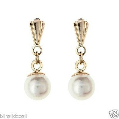 9ct Yellow Gold Freshwater And Pearl Drop Earrings Jewellery With Gift Box
