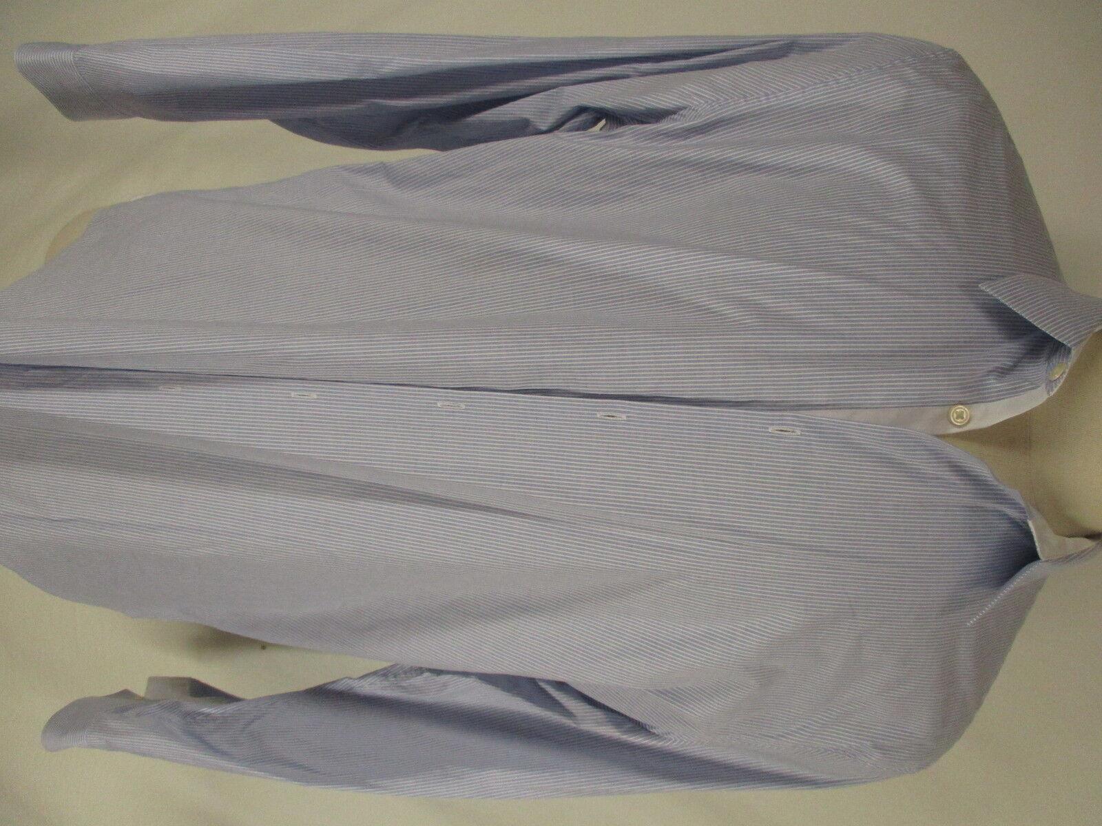 John Varvatos Luxe Mens bluee Stripe Long Sleeve Cotton Shirt XXL