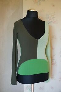 Womens-United-Colors-of-Benetton-L-14-16-sexy-sheer-slim-fit-top-T-shirt-blouse